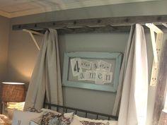 Part headboard, part canopy. Love this ladder look! http://www.ivillage.com/diy-headboard-projects/7-b-483566#483579