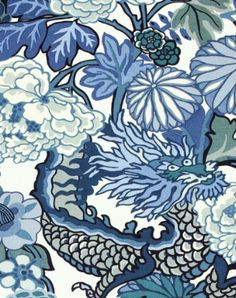 Chiang Mai Dragon in Blue and White   F. Schumacher