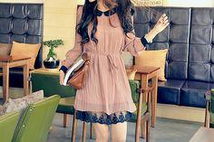 cute pink dress with lace slip details, cute outfit, K Fashion,  (≧∇≦)/ casual, cute outfit, Cute Korean Fashion, korea, Korean, seoul, kfashion, kpop fashion, girl's wear, ladies' wear, pretty, kawaii