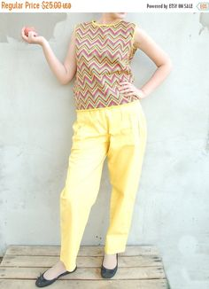 Vintage 80s high waisted yellow pants vintage trousers baggy pants high waisted trousers pants magenta tapered leg trousers vintage jeans