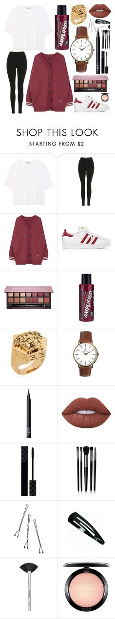 """""""cause y'all are stuck in the past and i got a crystal ball."""" by piercethecashby ❤ liked on Polyvore featuring Vince, Topshop, adidas, Anastasia Beverly Hills, Manic Panic NYC, Versace, Nibello, NARS Cosmetics, Lime Crime and Gucci"""