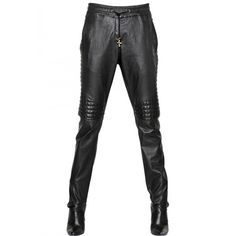 Balmain Runway Leather Trouser Pants ($981) ❤ liked on Polyvore featuring pants, white leather pants, leather trousers, leather pants, genuine leather pants and tapered trousers