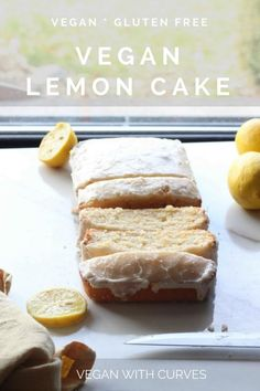 This vegan lemon cake is sweet, moist, fluffy, and it's gluten free! Plus it's topped with a delicious easy lemon glaze icing! Vegan Lemon Desserts, Vegan Lemon Cake, Delicious Vegan Recipes, Sweet Desserts, Vegetarian Recipes, Yummy Food, Gluten Free Baking, Healthy Baking, Vegan Gluten Free