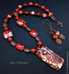 """Комплект украшений """"Terracotta"""" яшма - красный,терракотовый,рыжий,бордовый"""