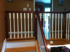 Built in matching stair baby gate would be awesome. Child Gates For Stairs, Kids Gate, Stair Gate, Stair Railing, Baby Gates, Dog Gates, Child Safety Gates, Aluminum Awnings, Laundry Room Signs