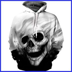2017 3D Hoodies Men Sweatshirts Melted Skull Print Longsleeve Casual Pullovers Streetwear Tops Autumn Regular Fashion Harajuku