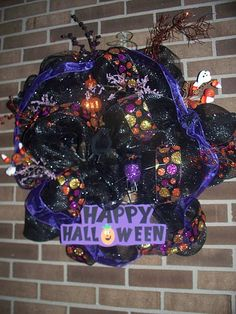 OOAK Halloween Wreath black and purple