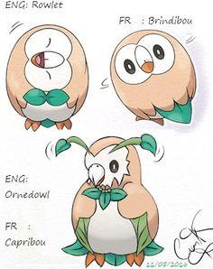 Pokemon Sun / Moon Pokemon Soleil / Lune Starter.  Evolution de Rowlet / Brindibou Second Stade  Ornedowl / Capribou