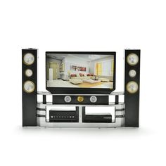 New Arrival Mini Hi-Fi 1:6 TV Home Theater Cabinet Set Combo For Barbie Doll Clothes Dress Accessories House Furniture Baby Toys