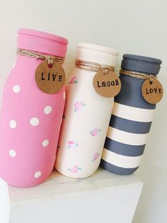 Set of 3 Painted mini milk bottles vintage home by Munchkinmaker22