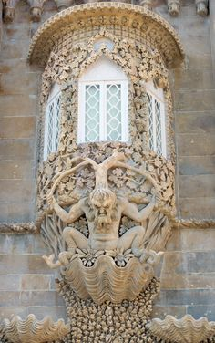 Triton's window. Pena palace, Sintra, Portugal