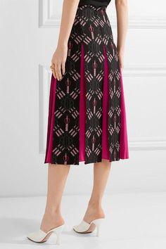 Valentino - Love Blades Silk-paneled Printed Wool-blend Midi Skirt - Black - IT46