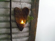Primitive Valentines Day Heart...with a flicker light...Prim Cupboard.