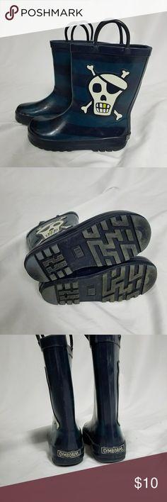 Gymboree Boys Pirate Rubber Rain Boots 11 Toddler size 11 blue pirate rain boots. Lined & comfy rubber boots with non slip bottoms  I bundle all items please ask, thanks again Gymboree Shoes Rain & Snow Boots