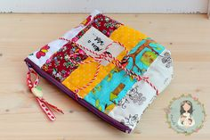 Unique patchwork and quilted zipper pouch  gift by MainileMamei
