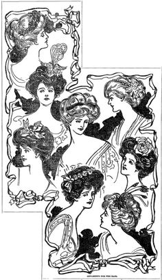 Today I'm going to be posting some beautiful fashion graphics from Gibson Girl era newspapers. Feel free to use any of these. They are all from The Washington Post, unless stated otherwise. The first one is of fashionable hair ornaments, from December White Elephant Gifts, Gibson Girl Hair, Edwardian Hairstyles, 50th Birthday Quotes, Funny Retirement Gifts, Edwardian Fashion, Edwardian Style, Fashion Illustration Vintage, Traditional Tattoos