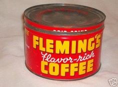 """Vintage """"Fleming's"""" Coffee Tin - 1950s - Very Nice (04/20/2007).  I can't believe this is the only Fleming's can that I could find.  What a nice find!"""
