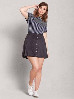Faux Suede Button Mini Skirt, BLACK