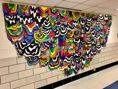 Jen Stark collaborative mural I made with my grade students! - Wood Dale, IL : Jen Stark collaborative mural I made with my grade students! Class Art Projects, Middle School Art Projects, Art Projects For Teens, Toddler Art Projects, Group Projects, Jen Stark, School Murals, Art School, Collaborative Mural
