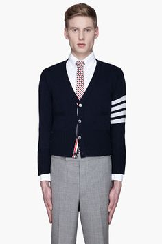 THOM BROWNE Medium Grey Armband Cashmere Cardigan. #thombrowne ...