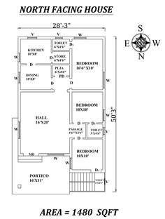 Marvelous North facing House Plan As Per Vastu Shastra, Autocad DWG and PDF file Details - Cadbull 2bhk House Plan, Simple House Plans, Model House Plan, Duplex House Plans, House Layout Plans, Family House Plans, Bedroom House Plans, House Floor Plans, North Facing House
