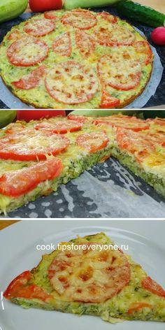 Идеальное летнее блюдо: аппетитная пицца из кабачка Keto Salmon, Quiche, Zucchini, Food And Drink, Yummy Food, Healthy Recipes, Meals, Baking, Vegetables
