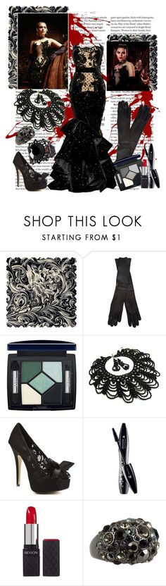 """Erika's Black Dress"" by kimberlee-peers-moore ❤ liked on Polyvore featuring Murad, Maison Margiela, Christian Dior, Andrew Gn, Fantasy Jewelry Box, Chinese Laundry, Lancôme, Revlon, FOSSIL and H&M"