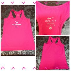 NEW! NIKE DRI-FIT RACER BACK ATHLETIC TANK TOP New Nike Dri-Fit US Air Force racer back athletic tank. The has DriFit in white along the bottom seam, & US Air Force across the front. Also has the Nike Swoosh below the Air Force emblem & insignia. This is a gorgeous bright tank & perfect for the gym. Nike Tops Tank Tops
