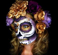 Sugar skull day of the dead ladies Halloween costume party make up Halloween Makeup Sugar Skull, Halloween Makeup Looks, Halloween Skull, Halloween Make Up, Vintage Halloween, Skeleton Makeup, Halloween Costumes, Skeleton Costumes, Braut Halloween