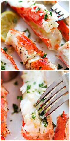 Garlic lemon butter crab legs are one of the best king crab leg recipes. Season the crab with garlic herb and lemon butter sauce, this recipe is so good! Shrimp Recipes For Dinner, Seafood Dinner, Appetizer Recipes, Lobster Recipes, Crab Recipes, Potato Recipes, Vegetable Recipes, Crab Leg Recipes Boiled, Steamed Crab Legs