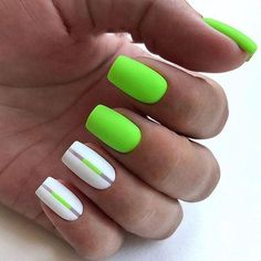 If you want everyone to envy your nails, you're going to LOVE the green nail polish designs we've found. Prepare to fall in love with these green nails inspo! Summer Nails Neon, Neon Green Nails, Green Nail Polish, Bright Nails, Neon Nails, My Nails, Neon Nail Art, Yellow Nail, Pink Nail