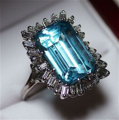 Vintage 1960s Estate 14 Karat White Gold Aquamarine and Diamond Ring