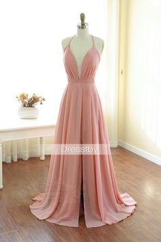Pink v neck long prom dress, backless evening dress, simple v neck formal dress for teens