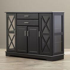 Kitchen Cabinet Storage Buffet Wine Glass Doors Decor Shelf Black Furniture New