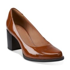 Tarah Sofia Cognac Patent - Clarks Womens Shoes - Womens Heels and Flats - Clarks - Clarks (A classic style. Love the wider heel for comfort and stability)