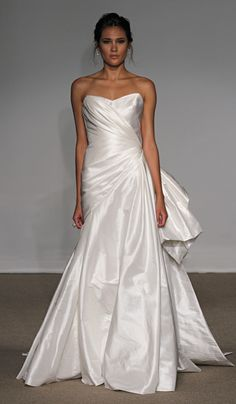 simple strapless satin wedding dress