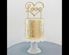 """Hochzeitsdeko - Cake Topper """"Love"""" gold - ein Designerstück von Design-Grusskarten bei DaWanda"""