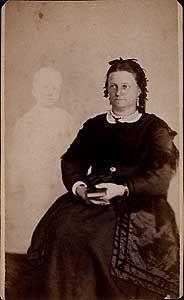 William H. Mumler (Boston)  Mrs. French of Boston with Spirit Son    Albumen print carte de visite, circa 1868