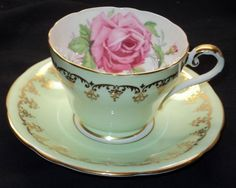 AYNSLEY LARGE PINK ROSE GOLD PALE LIME GREEN TEA CUP AND SAUCER