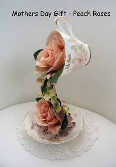 Mad Hatter Floating Tea Cup Flower Floral Arrangement Wedding Flower Arrangements, Floral Arrangements, Teacup Centerpieces, Floating Tea Cup, Teacup Crafts, Vintage Wedding Theme, Teacups, Mother Day Gifts, Tea Party
