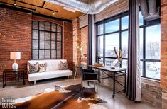 Broadview Lofts-68 Broadview Ave #316 | Rare offering - 1100+ sf 1 bedroom + den authentic brick & beam loft with 10.5 ft high factory wood ceilings, exposed brick walls, large original windows & concrete floors. | More info here: torontolofts.ca/broadview-lofts-lofts-for-sale/68-broadview-ave-316 Exposed Brick Walls, Wood Ceilings, Concrete Floors, Lofts, Interior Design Inspiration, Beams, Den, Condo, Windows