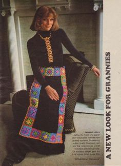 Vintage Crochet Granny Square Apron Skirt by bobbishookandneedles