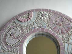 Pink & White Cottage Chic Round Mosaic Mirror - Original Art