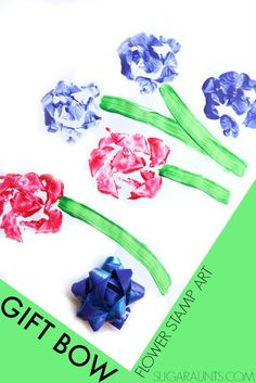 Gift Bow Flower Stamp Art. Preschoolers will love this process art!
