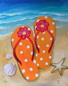 7e6c255119ceaa flip flop paintings - A good way to add character to a regular beach scene!