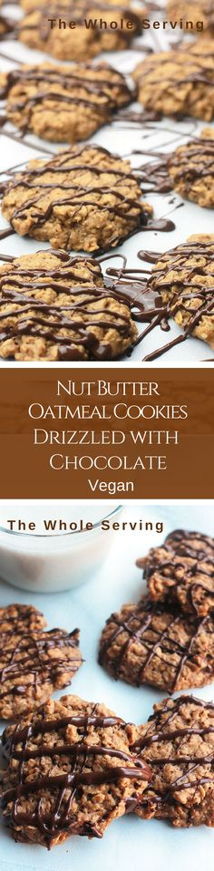 Hearty, wholesome, not overly sweet Nut Butter Oatmeal Cookies drizzled with Chocolate, oh-so-delicious! As a child peanut butter cookies and Cookie Recipes, Vegan Recipes, Dessert Recipes, Party Desserts, Delicious Recipes, Healthy Desserts, Vegan Sweets, Vegan Food, Cupcakes
