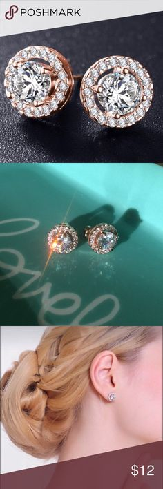 Stud earrings. New New earrings with zircon stones. Gold color. High quality metal. Heavy like real gold. Looks expensive. Jewelry Earrings