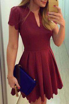 Retro Style V Neck Short Sleeves Pleated Dress For Women Vintage Dresses | RoseGal.com Mobile