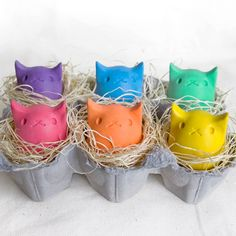 Kitty Egg Upcycled Crayons. Perfect for Easter baskets!