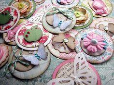 Cute Circle Embellishments set of 10 flowers by kokovanilladesigns, $7.00